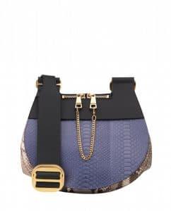 Chloe Blue/Beige/Black Python Drew Saddle Bag