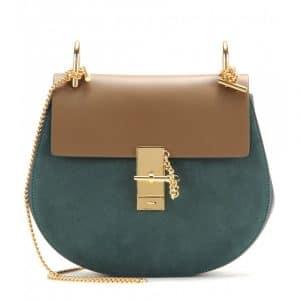 Chloe Khaki/Green Suede/Calfskin Drew Medium Shoulder Bag