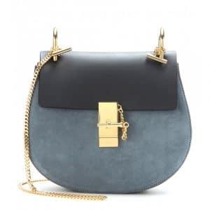 Chloe Merino Blue Suede/Calfskin Drew Medium Shoulder Bag
