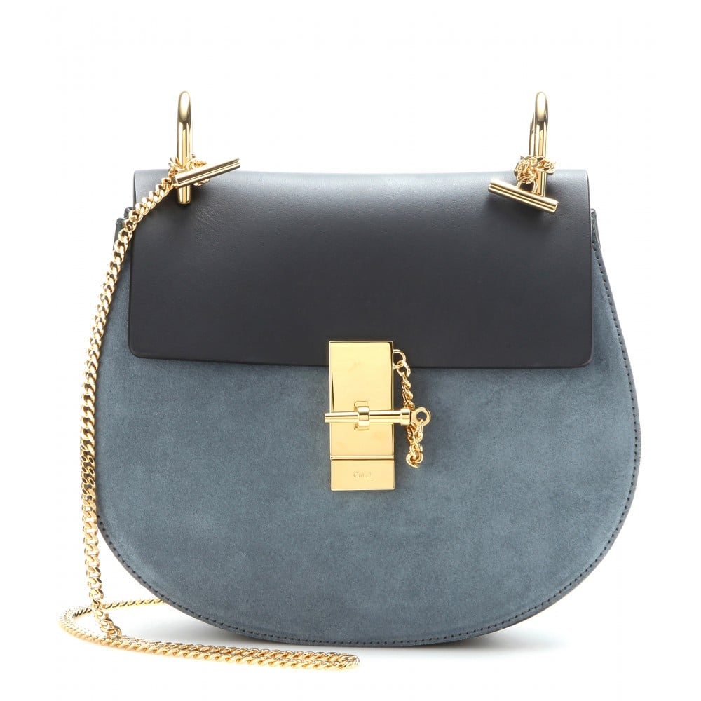 CHLOÉ Drew Shoulder Bag in Python & Blue Suede, Leather