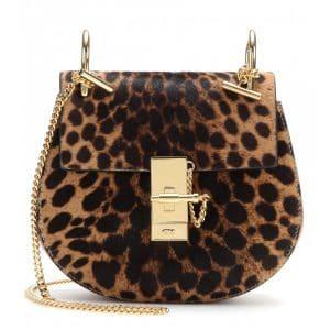 Chloe Savanna Brown Calf Hair/Leather Drew Small Shoulder Bag