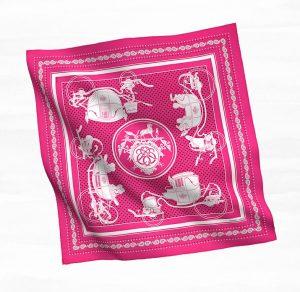 Hermes Pink Ex-Libris Bandana