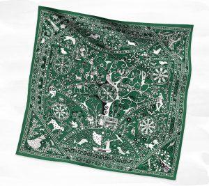 Hermes Green Peuple du Vent Giant Bandana