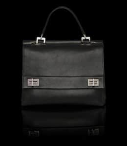 Prada Black Lux Calf Flap Tote Bag - Fall 2014 - Front