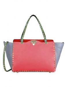 Valentino Orange Colorblock Double Handle Large Rockstud Bag - Fall 2014