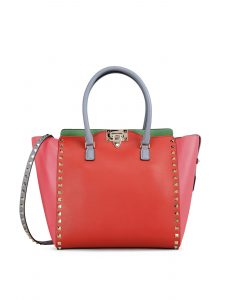 Valentino Orange Colorblock Double Handle Rockstud Tote Bag - Fall 2014