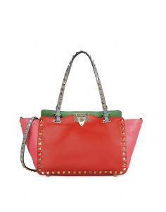 Valentino Orange Colorblock Small Rockstud Tote Bag - Fall 2014