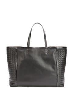 Bottega Veneta Black Snakeskin Trim Tote Bag - Fall 2014