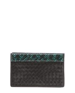 Bottega Veneta Black/Green Snakeskin Trim Intrecciato Clutch Bag - Fall 2014