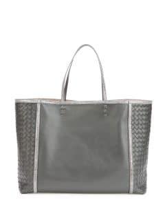Bottega Veneta Charcoal Snakeskin Trim Tote Bag - Fall 2014