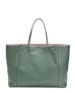 Bottega Veneta Green Snakeskin Trim Tote Bag - Fall 2014