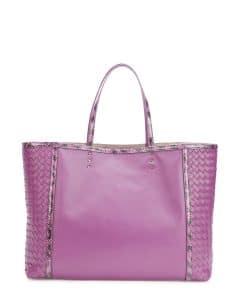 Bottega Veneta Purple Snakeskin Trim Tote Bag - Fall 2014
