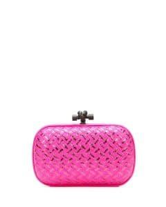 Bottega Veneta Rosa Shock Intrecciato Placcato Knot Clutch Bag - Fall 2014
