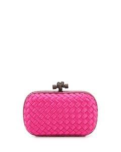 Bottega Veneta Rosa Shock Intreccio Impero Knot Clutch Bag - Fall 2014