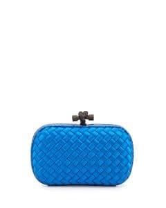 Bottega Veneta Royal Blue Intreccio Impero Knot Clutch Bag - Fall 2014