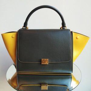 Celine Bicolor Trapeze Bag with Yellow Trim - Winter 2014