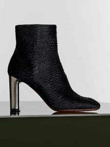 Celine Black Astrakhan Stamped Pony Calfskin Bam Bam Ankle Boot - Winter 2014