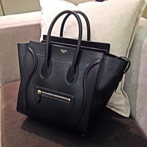 Celine Black Astrakhan Stamped Pony Calfskin Mini Luggage Bag - Winter 2014