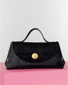 Celine Black Astrakhan Stamped Pony Calfskin Orb Bag - Winter 2014