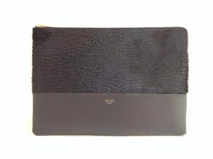 Celine Black Astrakhan Stamped Pony Calfskin Pochette Bag - Winter 2014