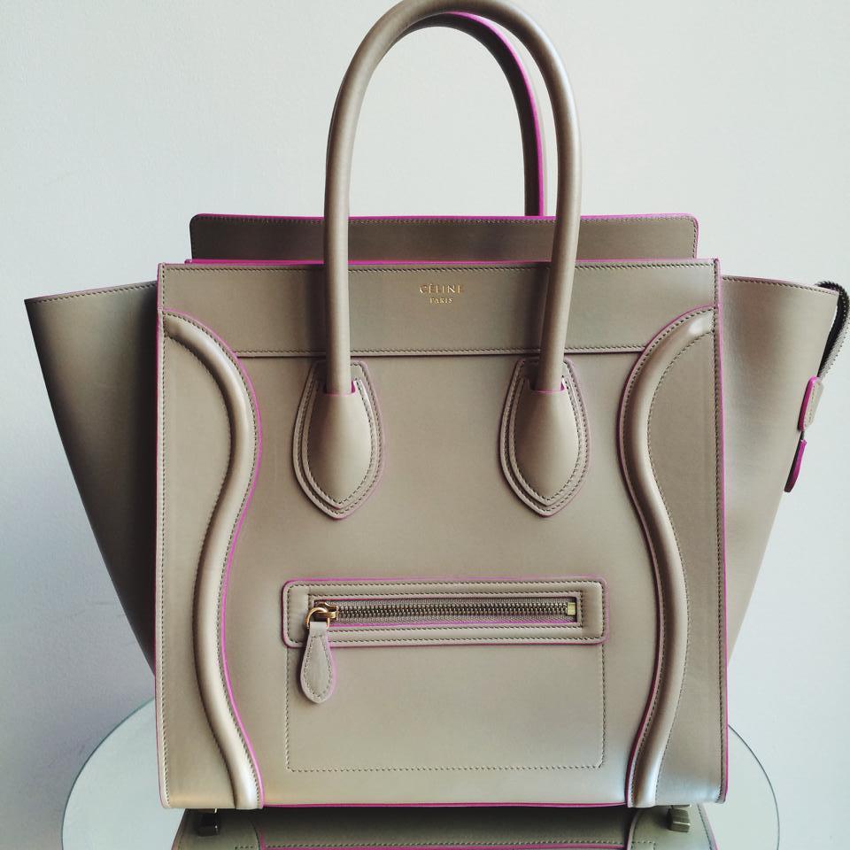 badd0832cf55 Celine Camel Mini Luggage with Pink Trim Tote Bag - Winter 2014. FB  Petra  Teufel
