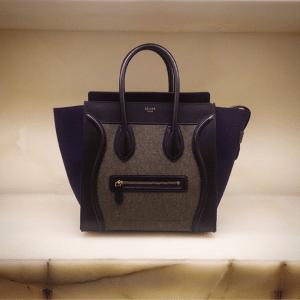 Celine Grey/Blue/Black Felt Mini Luggage Bag - Fall 2014