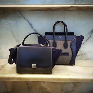 Celine Grey/Blue/Black Felt Trapeze and Mini Luggage Bags - Fall 2014
