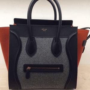 Celine Grey/Orange/Black Felt Mini Luggage Bag - Fall 2014
