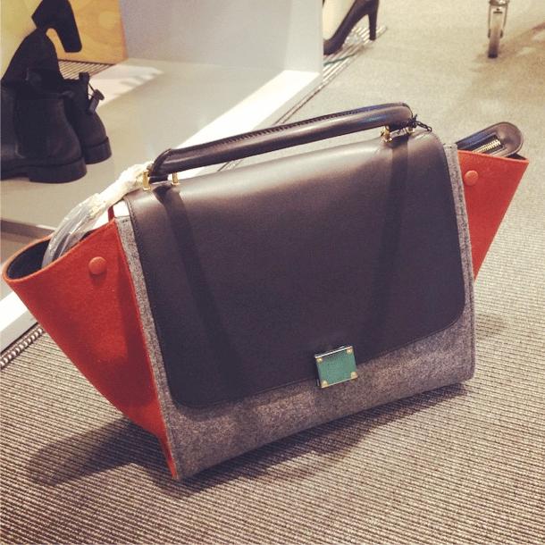 Celine Grey Orange Black Felt Trapeze Bag - Fall 2014. IG  char1otte  fbc9ef8800282