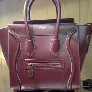 Celine Micro Burgundy Luggage Tote Bag with Azur Blue Piping - Fall Winter 2014