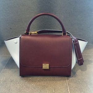 Celine Mini Trapeze bag in Burgundy with Azur Blue Suede Wings - Fall Winter 2014