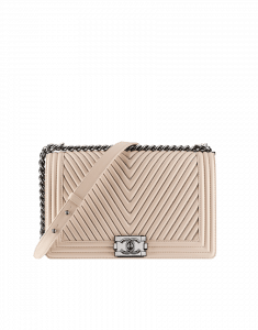 Chanel Beige Boy Chevron Flap Large Bag - Fall 2014 Act 2