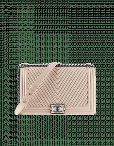 Chanel Beige Boy Chevron Flap Large Bag - Fall 2014 Act 2