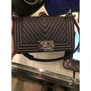 Chanel Black Herringbone Boy Bag with Micro Chain Detail - Fall 2014 Act 2
