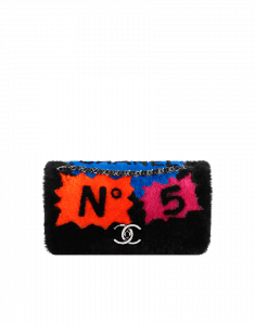Chanel Black Multicolor Shearling 100% Chanel Medium Flap Bag - Fall 2014 Act 2