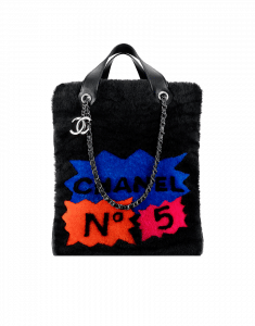 Chanel Black Multicolor Shearling 100% Chanel Tote Bag - Fall 2014 Act 2