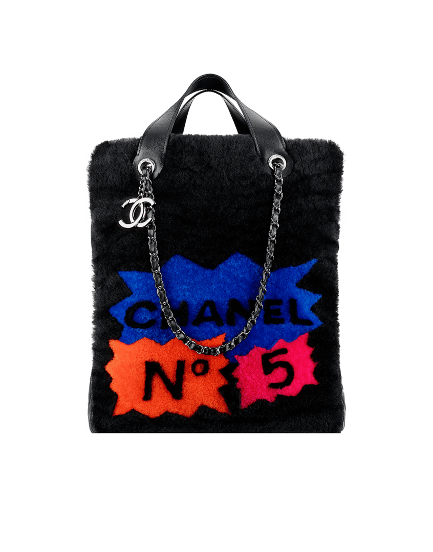 bead183b35a7 Chanel Black Multicolor Shearling 100% Chanel Tote Bag - Fall 2014 Act 2