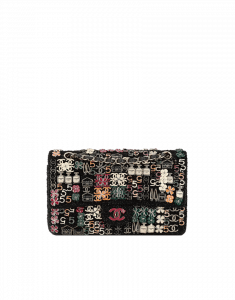 Chanel Black Tweed with Charms Classics in Fabric Medium Flap Bag - Fall 2014 Act 2