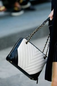 Chanel Black/White Chevron Shoulder Bag - Spring 2015