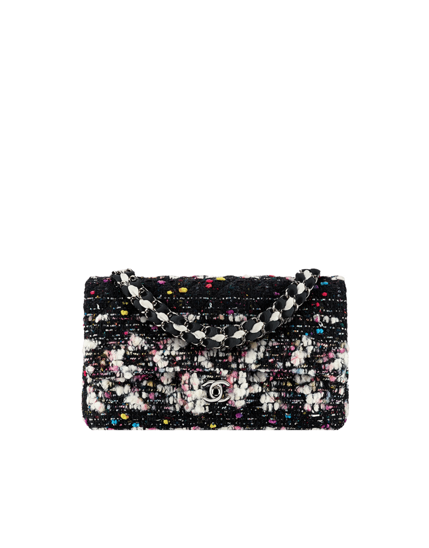 4a66673fddf5 ... Fall 2014 Act 2 · Chanel Black White Yellow Pink Tweed Classics in  Fabric Medium Flap Bag -