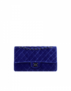 Chanel Blue Velvet Classics in Fabric Medium Flap Bag - Fall 2014 Act 2