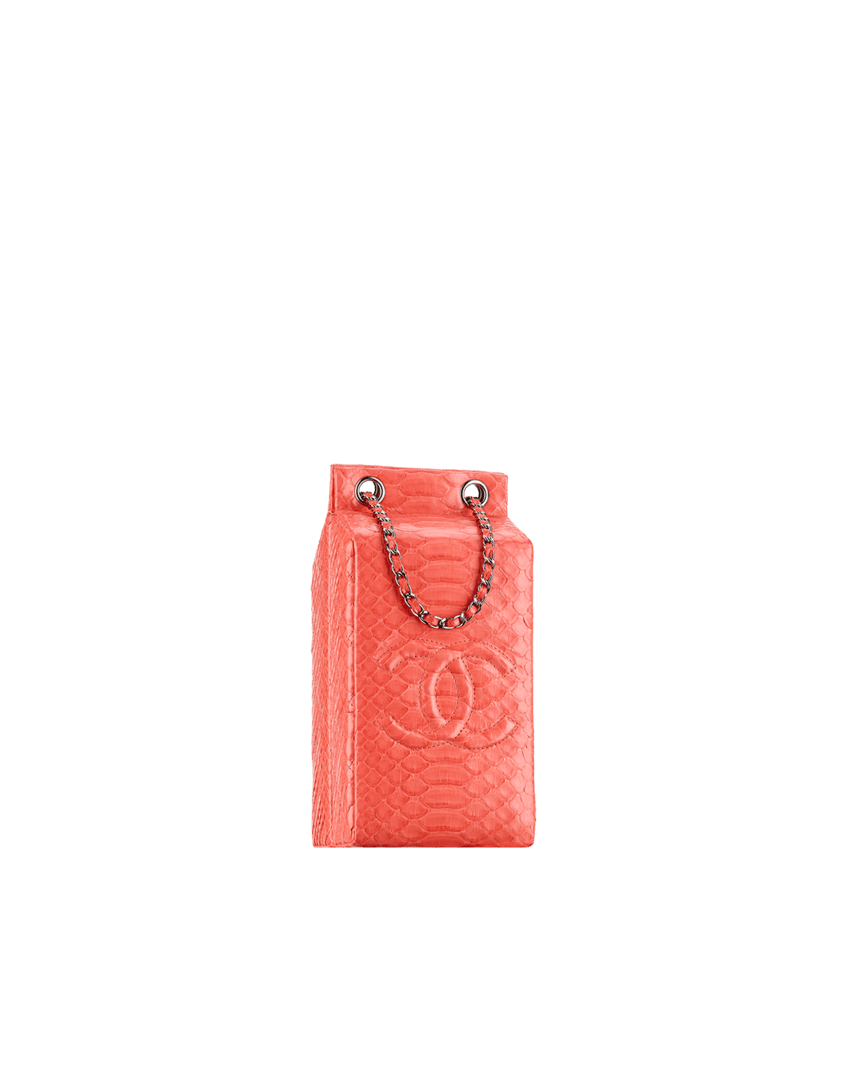 e790cd1ec7c1 Chanel Coral Python Grocery By Chanel Milk Carton Bag - Fall 2014 Act 2