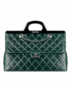 Chanel Dark Green CC Deliver Small Shopping Tote Bag