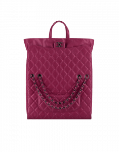Chanel Dark Pink Drawstring Shop Bag - Fall 2014 Act 2