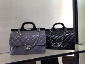 Chanel Grey/Black CC Delivery Small Shopping Tote Bags