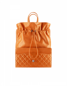 Chanel Orange Drawstring Shop Bag - Fall 2014 Act 2