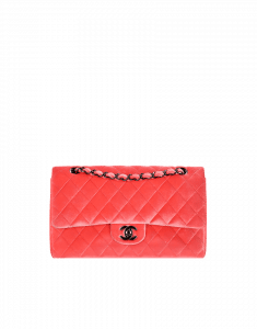 Chanel Orange Velvet Classics in Fabric Medium Flap Bag - Fall 2014 Act 2