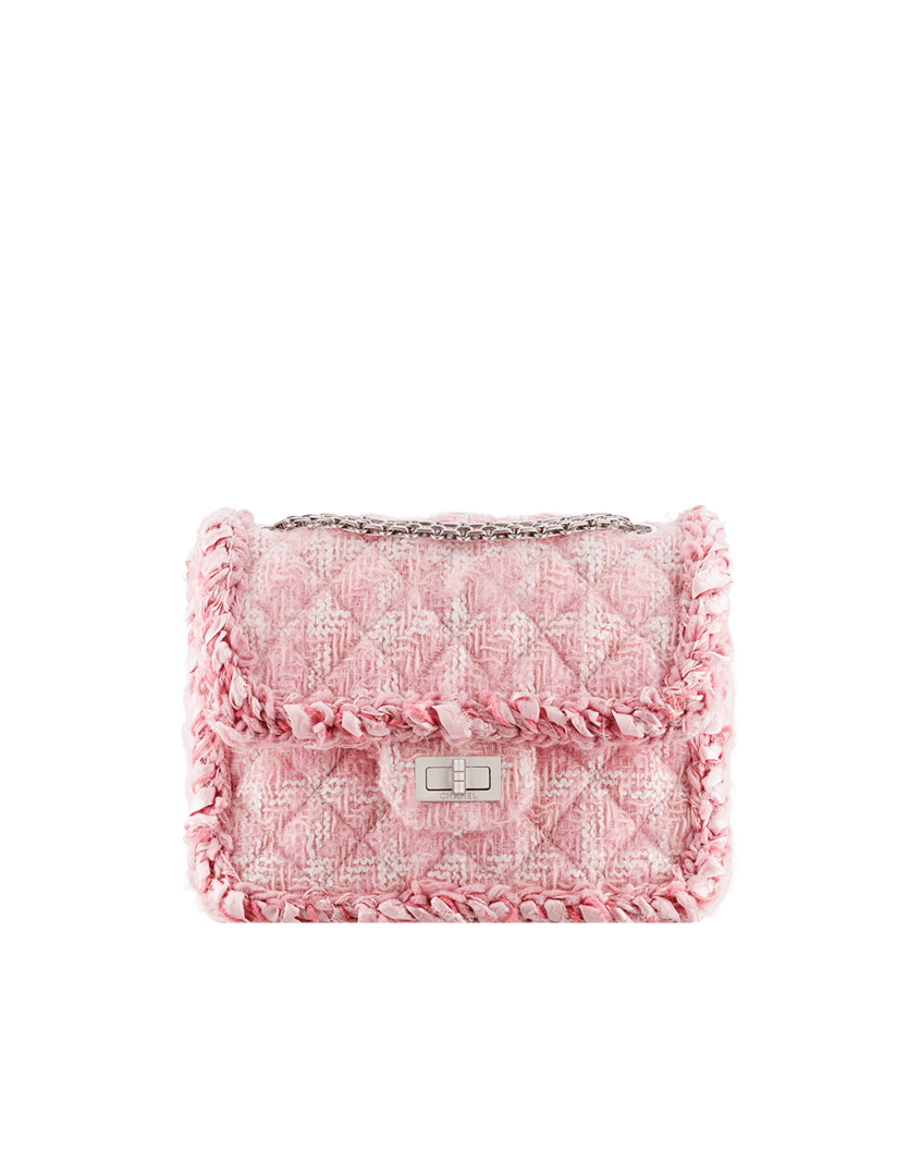 333cca479195 Chanel Pink Tweed Classics in Fabric Mini Flap Bag - Fall 2014 Act 2