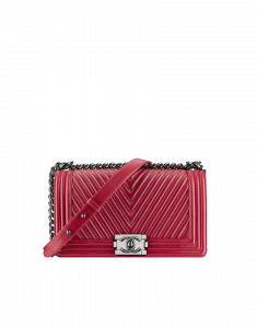 Chanel Red Boy Chevron Flap Medium Bag - Fall 2014 Act 2