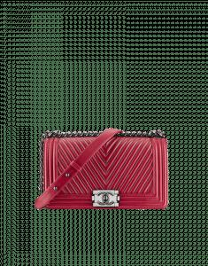 Chanel Red Boy Chevron Flap Medium Bag - Fall 2014 Act 2